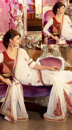 Off White Jacqueline Fernandez Bollywood Designer Saree 3H1011213