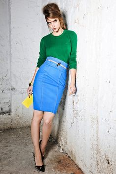 Like the colour blocking here with the green and blue. Nice shape on the pencil skirt x