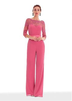 973fb06bb9f [167.99] Pretty Jumpsuit Chiffon Bateau Neckline 3/4 Length Sleeves Prom  Dress With Lace Appliques