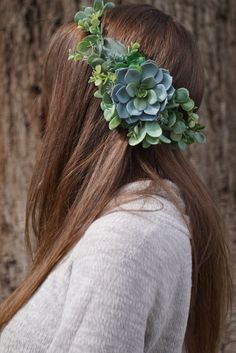 Succulent crown, succulent flower crown, greenery crown, succulent headband, flower crown wedding, bridal headpiece by WelcomingGraceCrafts on Etsy