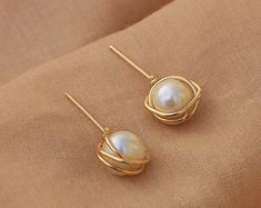 Gold pearl stud earrings - 14 k gold filled earrings - White freshwater pearl bridesmaids gift - june birthstone - gift for her - Best Picture For jewelry rings For Your Taste You are looking for something, and it is going to t - Bar Stud Earrings, Dainty Earrings, Crystal Earrings, Gold Earrings, Delicate Necklaces, Amber Earrings, Cluster Earrings, Statement Earrings, Pearl Jewelry