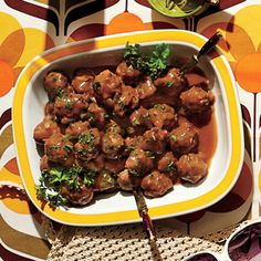 Cocktail Meatballs | MyRecipes.com Cocktail meatballs hold a special place in the canon of Southern party appetizers. While we love the ones our mamas made with chili sauce and grape jelly, this recipe is the one we still pull out for company.