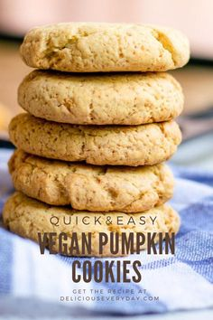 These vegan pumpkin cookies are the perfect Fall treat! They're packed with flavor from pumpkin and brown sugar, easy to whip up in 30 minutes, and they're completely vegan. #vegan #cookies #veganbaking #eggfree #dairyfree Vegan Pumpkin Cookies, Pumpkin Cookie Recipe, Pumpkin Chocolate Chips, Vegan Buttercream Frosting, Frosting Recipes, Dairy Free Recipes, Vegan Recipes, Quick Easy Vegan, Vegan Baking