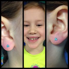 I love piercing these little brave souls- such good humans, smiles and extreme happiness when they see their new shiny ears ❤️  Trinity ends from NeoMetal