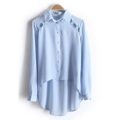 SheIn offers Light Blue Long Sleeve Hollow Dipped Hem Chiffon Blouse & more to fit your fashionable needs. Mode Geek, Hijab Fashion, Fashion Outfits, Short Tops, Western Outfits, Look Chic, Mode Style, Chiffon Tops, Chiffon Shirt