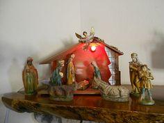 Vintage Christmas NATIVITY Figurines Stable Creche JAPAN