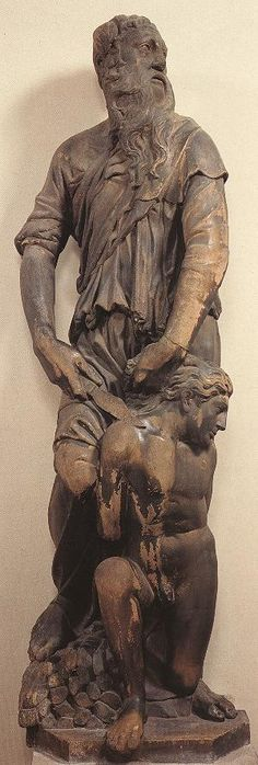 Donatello | Abraham about to sacrifice Isaac. From the bell tower of the Duomo of Florence, Italy. Marble, Museo dell'Opera del Duomo.  ca. 1408–1421