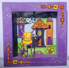 Wooden shadowbox, PaperArtsy stamps and stencils, Tando Creative Whimsical Houses, DecoArt Americana acrylic paints.