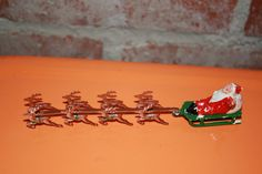 Vintage Miniature Metal Santa Sled Sleigh by BZsEclecticEmporium, $28.00