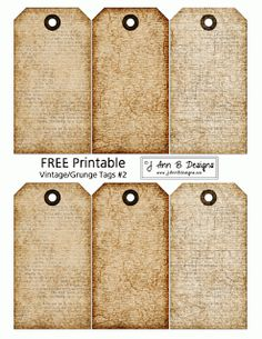 J Ann B Designs: Vintage/Grunge Tags 2 - FREE Printable