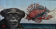 """Rust-en-Vrede Gallery – ART EXCHANGE: MEXICO - Participating Artist Theo Paul Vorster """"Engaged in Conversation"""" Hand Coloured Woodcut Print Engage In Conversation, Hand Coloring, Printmaking, Lion Sculpture, Art Gallery, Mexico, Statue, Rust, Prints"""