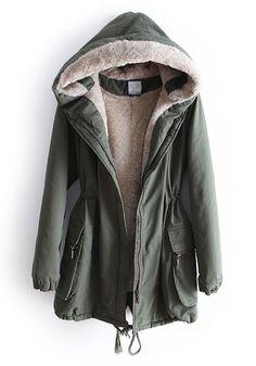 Green Drawstring Belt Stright Thick Cotton Parka Coat