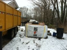 BullBags hold up to 4,500 lbs! And you ONLY pay for the height you fill it too - not luike metal dumpsters that charge by the weight! With metal dumpsters you pay for the snow, rain, water, and ice inside them - BullBags you do not!  So, let it snow - Spring Cleaning can start now!