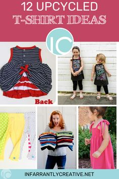 What do you do with old t-shirts? Don't throw them away. Read these 12 upcycling tshirt ideas and start creating new from old. Recycled T Shirts, Old T Shirts, Easy Diy Crafts, Fun Crafts, Creative Ideas, Diy Ideas, Knock Off Decor, Ways To Recycle, What To Make