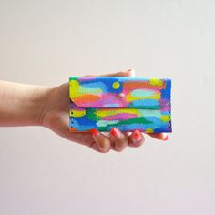 Colorful Leather Wallet Color Pattern Coin by BooandBooFactory, $52.00