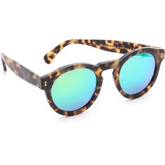 Illesteva Leonard Matte Mirrored Sunglasses (650 BRL) ❤ liked on Polyvore featuring accessories, eyewear, sunglasses, glasses, fillers, round frame sunglasses, polarized mirror sunglasses, round mirror sunglasses, illesteva sunglasses and round lens sunglasses