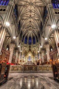 Beautiful, historic St Patrick's Cathedral in New York City, completed in 1878 and designated a National Historic Landmark.