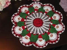 Brand new white/green/red crochet doily with Santa by KroneCrochet, $59.00