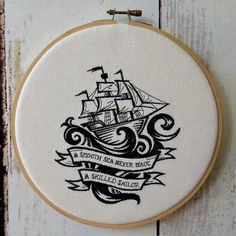 """Hoop Art  - A Smooth Sea Never Made A Skilled Sailor - Machine Embroidered Wall Hanging - Size 8"""" - Embroidery Hoop Art, $27.95"""