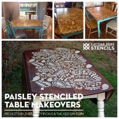 Stencils Can Give Old Tables A New Stylish Look! Good morning, my DIY friends. One of the most popular furniture makeover projects featuring Cutting Edge Stencils was painted by Ashley fromDomestic Imperfection. That Paisley stenciled table has been pinned, shared, and inspired many furniture pro