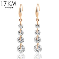 17 KM Trendy Goud Kleur Crystal Dangle Earring Water Drop Zirkoon Steen Oorbellen Charmante Bruiloft Brincos Vrouwen Pendientes