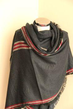Super doux rayé écharpe foulard gris couverture avec par DroppBy
