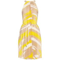 Max Mara Danzica dress ($305) ❤ liked on Polyvore featuring dresses, yellow print, pleated dress, graphic dresses, yellow striped dress, stripe dress and beige dress
