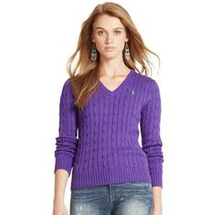 Ralph Lauren Polo Ralph Lauren Cabled Cotton V-Neck Sweater
