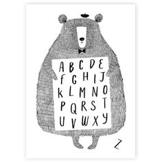 Corby Tindersticks 'Alphabear' Poster (28 CAD) ❤ liked on Polyvore featuring home, home decor, wall art, alphabet wall art, wall paper home decor, bear poster, word wall art and typography wall art