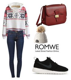 ROMWE Snowflake Sweatshirt by tania-alves on Polyvore featuring polyvore, fashion, style, Frame Denim, NIKE and Dressage Collection