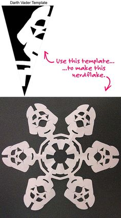 "Darth  Vader Snowflake---template for this ""nerdflake"""