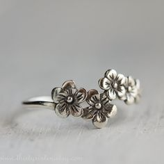 Cherry Blossom Ring, Flower Ring,  Sterling Silver jewelry