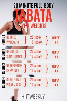 Get The Ultimate Full Body Tabata Workout With Weights Right Here. This Tabata H. Get The Ultimate Full Body Tabata Workout With Weights Right Here. This Tabata HIIT can be completed in 10 or 20 minutes. Tabata Workout With Dumbbells and kettlebells. Hiit Workout At Home, 20 Minute Workout, At Home Workouts, Body Weight Hiit Workout, Full Body Kettlebell Workout, Amrap Workout, Weight Lifting Workouts, Tummy Workout, Workout Ideas
