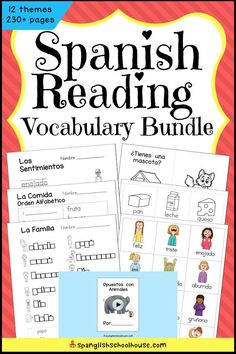 Includes the popular interactive Mini-Book with QR Code 'Read Aloud' Video, flashcards, and Spanish word work. The Spanish Reading Thematic Bundle is just right for children learning to read in Spanish. Preschool Spanish, Spanish Lessons For Kids, Elementary Spanish, Spanish Activities, Spanish Class, Spanish Flashcards, Spanish Vocabulary, Spanish Language Learning, Teaching Spanish