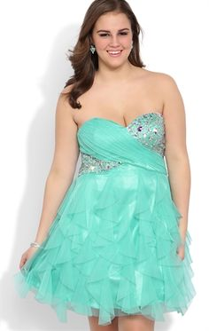 ccd9f8c5485 Plus Size Strapless Short Prom Dress with Stone Bodice