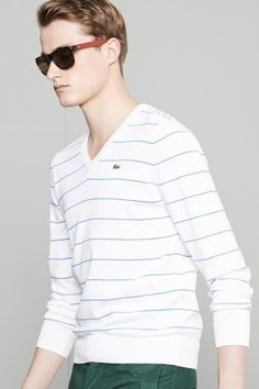 #Lacoste Cotton Jersey V-neck Striped #Sweater