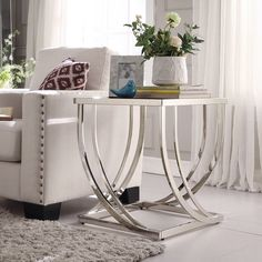 Anson Steel Brushed Arch Curved Sculptural Modern End Table by iNSPIRE Q Bold (Anson Arch eyebrows Pillar End Table), Black Metal End Tables, Glass End Tables, Modern End Tables, Sofa End Tables, Modern Coffee Tables, Glass Table, Bedside Tables, Living Room End Tables, Black Furniture