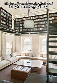 A Hanging LibraryThis is pretty much exactly what I want in my house! A Hanging Library!!