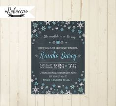 winter baby shower invitation baby its cold outside boy baby shower Christmas chalkboard snowflake baby shower brunch party printable invite by RebeccaDesigns22