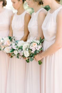Classic blush bridesmaid gowns: http://www.stylemepretty.com/new-jersey-weddings/chesterfield-township-new-jersey/2016/02/02/garden-party-inspired-wedding-infused-with-pineapples/ | Photography: Michelle Lange - http://www.loveandbemarried.com/
