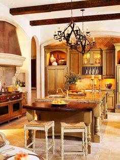 Someday when I have more money, I can save for a new kitchen!Need to save for my Disney World trip and a new roof for my house first! Tuscan Style Homes, Tuscan House, New Kitchen, Kitchen Decor, French Kitchen, Rustic Kitchen, Country Kitchen, Kitchen Ideas, Casa Magnolia