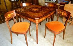 Beautiful Italian Inlaid Game Table with Four Chairs