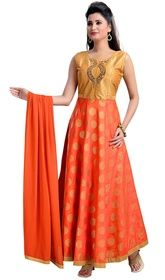 Orange and Beige Color Brocade Anarkali Churidar Suit #anarkalisuitindia #anarkalisuitfloorlength Bring in a wisp of grace and freshness to your dressing style with this orange and beige color brocade Anarkali churidar suit. The attractive lace, patch and resham work a intensive characteristic of this attire.  USD $ 155 (Around £ 107 & Euro 118)