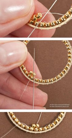 Tutorial for Inside Brick Stitch Hoop Earrings: Begin the Second Round of Beads . Tutorial for Inside Brick Stitch Hoop Earrings: Begin the Second Round of Beads Beaded Earrings Patterns, Jewelry Patterns, Beaded Jewelry, Seed Bead Jewelry, Handmade Jewelry, Beading Patterns, Handmade Beads, Beading Ideas, Jewelry Bracelets