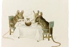 Beatrix Potter's illustration, 1893 'Three Mice seated at a table about to devour a Christmas pudding' I don't recall ever seeing this befor...