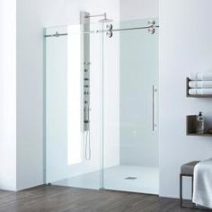 American Standard Passage 32 in. x 60 in. x 72 in. 4-Piece Glue-Up Alcove Shower Wall in White Subway Tile-P2969SWT.375 - The Home Depot Vigo Shower Doors, Frameless Sliding Shower Doors, Glass Shower Doors, Sliding Doors, Bathtub Doors, Glass Showers, Home Depot, Vertical Doors, Shower Base