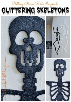 Pottery Barn Kids inspired glitter skeletons, but for less than $5 in less than 5 minutes!  CUTE!