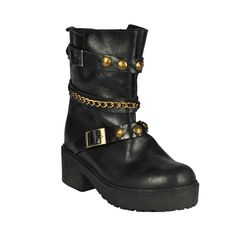 Bota de mujer Diamond, negro con cadena. Biker, Sky, Shoes, Fashion, Chains, Boots, Black People, Women, Heaven