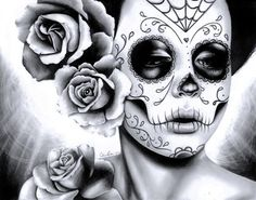in Stretched Canvas Print - Felicity - Dia De Los Muertos Tattoo Flash Day of the Dead Sugar Skull Girl - Black and White Decor - My Sugar Skulls Sugar Skull Mädchen, Sugar Skull Tattoos, Rose Art, Los Muertos Tattoo, Day Of The Dead Girl, Candy Skulls, Alternative Art, Up Girl, Skull Art