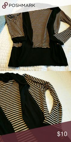 Striped cardigan Open front striped cardigan. Tan and black stripe. Good used condition. Very cute with jeans or leggings. Metaphor Sweaters Cardigans